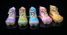 (Paquete de 2) Mini Arranque de Metal Decorativos de Regalo Caja de La Joyería Cajas de Regalo en Venta Niñas Calzado Baratija Anillo Jewery Cuadro Lindo En Forma De Zapato
