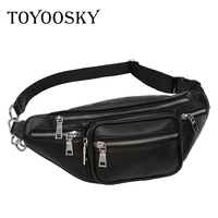 TOYOOSKY Crossbody Bags For Men Women Retro PU Leather Military Messenger Chest Bag Shoulder Bag Large