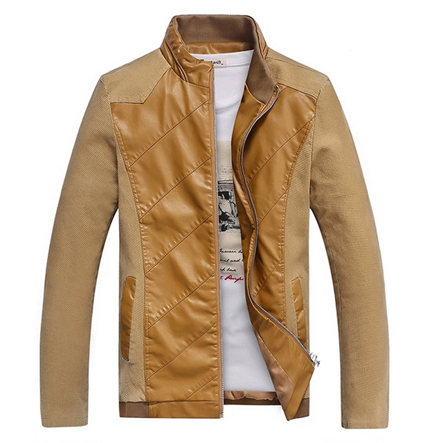 2017 New Spring Jacket Men PU Pachwork Casual Slim Fit Homme Mens Jackets And Coats (Asian Size)