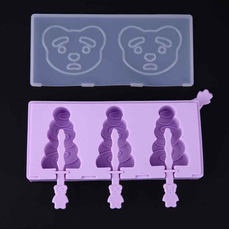Christmas Tree Shape Cartoon Creative DIY Silicone Ice Cream Mold With Dust Cover Sticks Frozen Popsicle Ice Cream Maker