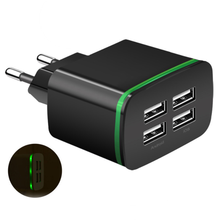 4 Port USB Wall Charger Adapters Black ABS 5V 4A Power Plug Travel Adapter EU Plug 110-220V For Charging Cell Phone Camera все цены