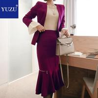 Women Blazer Mujer Matching Sets 2018 New Arrival Office Clothes Purple Single Button V neck Jacket And Mid calf Skirt Suits