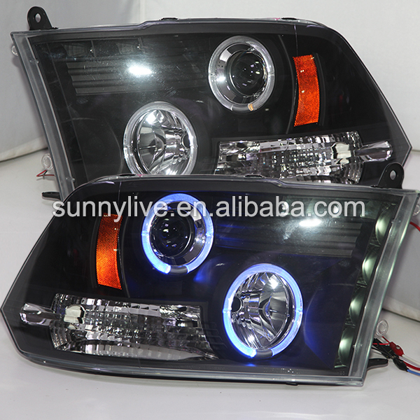 2009 2017 Year For Dodge Ram 1500 Blue Color Angel Eyes Led Head Lights Lamp Front Light Sn Style
