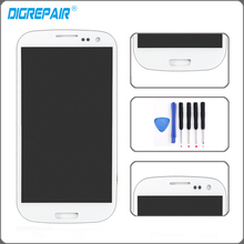 Blanco Para Samsung Galaxy S3 i9300 Pantalla LCD Táctil Digitalizador Asamblea Completo Reemplazo + Herramientas de Reparación