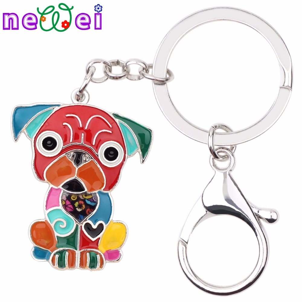 NEWEI Metal Enamel Sitting French Bulldog Pug Dog Key Chains Keychain Keyrings Jewelry For Women Girls Pendant Bag Car Charms