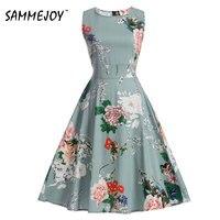 Vintage Dresses Audrey Hepburn Sleeveless Print Floral 2017 New Style Summer Retro Dress Vestidos Robe Womens