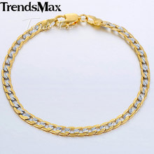 Womens Men's Bracelets Gold Cuban Link Chain Bracelet For Woman Male Jewelry 2018 Fashion Gifts Dropshipping Wholesale 4mm KGB94(Hong Kong,China)