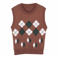 Lychee Vintage Autumn Winter Women Vest Geometric Rhombus Knitted Sleeveless Tank Top Preppy Style Knit Camis