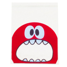 50pcs/lot small size cute little monster Candy cookie Bags Self-adhesive Plastic Biscuit Packaging Bag 10*10cm plus 3cm(red)(China (Mainland))