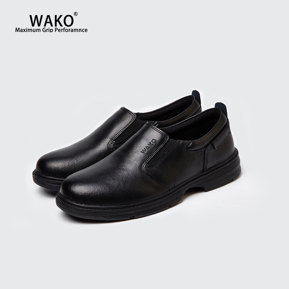 WAKO Men Women Cowhide Chef Shoes Non-Slip Kitchen Leather Material Work Shoes Anti-Skid Cook Clogs Safety Breathable Black 9816