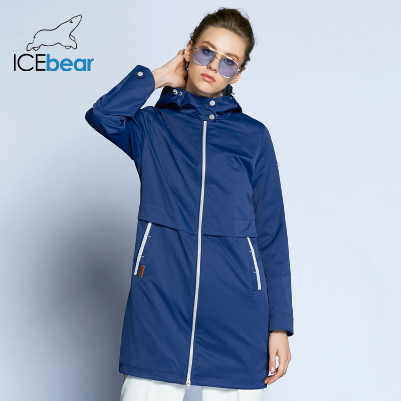 ICEbear 2019 New Autumn Women Fashion Casual Slim Solid Coat With Hat Zipper Pocket 4 Color Thin   Trench   Coat B17G122D