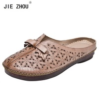 Summer Cozy Flat Slippers Flip Flops Female Genuine leather Outside Shoes Woman Vintage Handmade Slippers Footwear