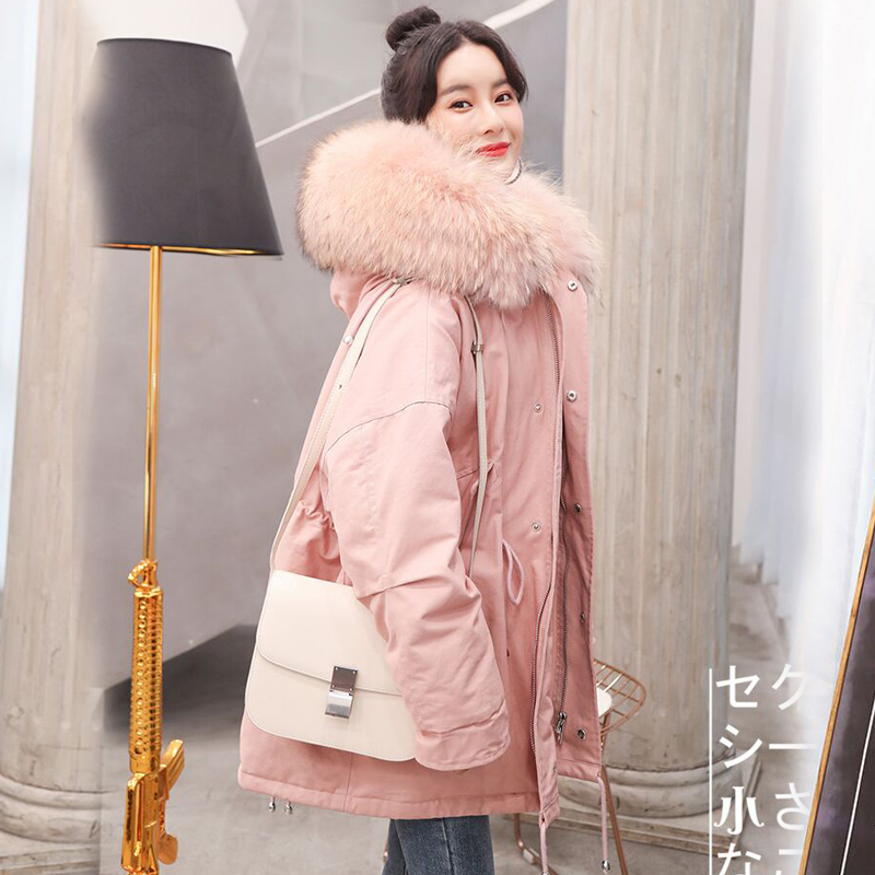 90% White Duck   Down   Jackets 2018 Winter   Coat   Women Large Real Fur Collar Hooded Long Warm Windproof Female Parka Outerwear