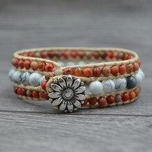 European And American Vintage Bohemian Bracelet Natural Stone Handmade Sun Flower For Women Accessories