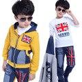 Осень мальчики моды случайные комплект одежды хлопка мальчиков и девочек 3-13 лет детская одежда джинсы сшивание спорта из трех частей