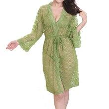 Lace robe set silk robe sexy gecelik bathrobe roupao mulher batas de seda roupas feminina sexy lingerie lace bathrobe sleepwear