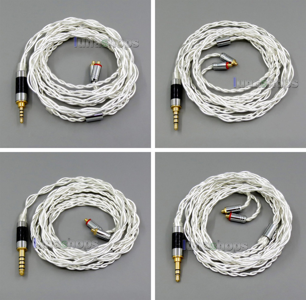 4 Cores Pure Silver Shielding Earphone Cable For MMCX Plug Shure se535 se846 se215 Earphone cable LN006003 areyourshop 5pair earphone pin plug for shure ed5 se535 carbon fiber mmcx rhodium plated silver