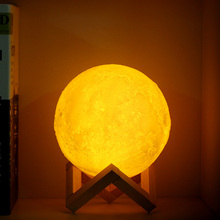 Creative Rechargeable 3D Print Moon Lamp 2 Color Change Touch Switch Sphere Night Light Bedroom Bookcase Home Decor