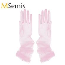Women Gloves Mittens Tulle Gloves Transp
