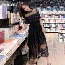 Женское Сетчатое платье rugod элегантное лоскутное с короткими