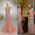 Oumeiya Real Pictures ORP218 Pink V Neck Sexy Cheap Mermaid Prom Dresses 2015