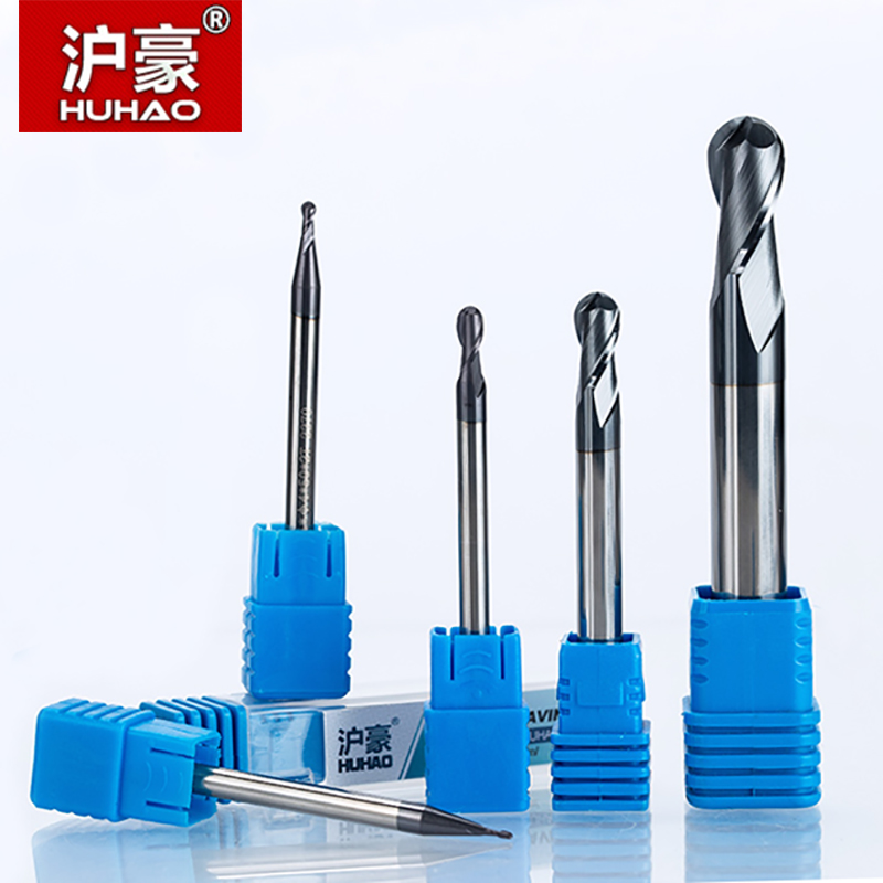 HUHAO 1pc 2 flutes Ball Nose Solid Carbide End mills CNC Milling Cutter HRC45 R0.5 0.75 1 1.75 3 5mm cnc tools milling cutter 1pc radius 5mm 2 flutes longer hrc55 r5 20 d10 75mm solid carbide ball nose end mill cnc router bits tools longer milling cutter