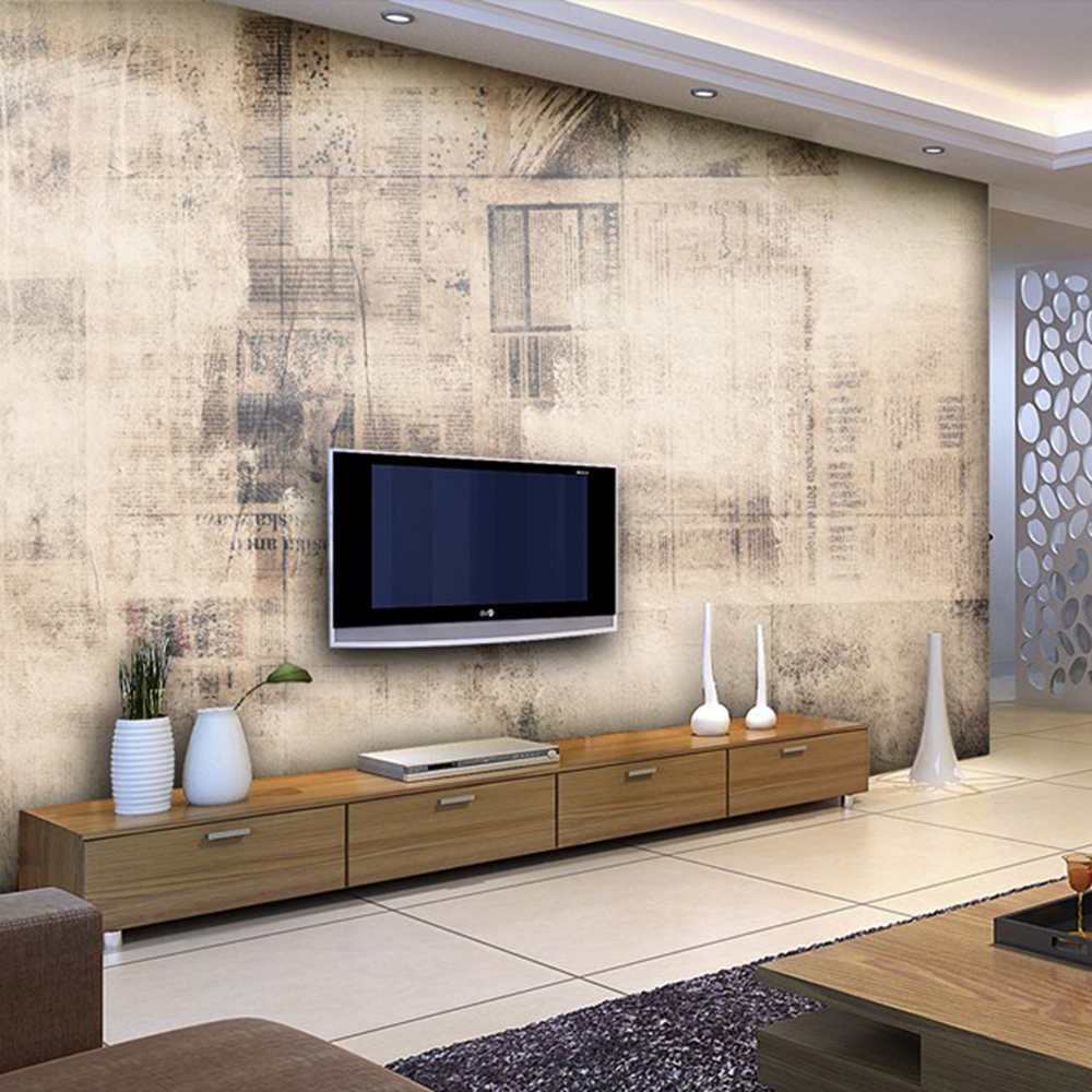 Old newspapers livingroom background 3D Wallpaper Mural Photowall 3d ...