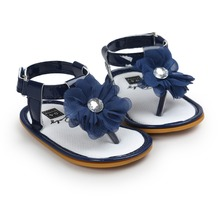 baby summer flower shoes Free shipping blue baby girls sandals infantil bebe toddler girl shoes sol for 0~18M TX40