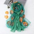 Bordar flor bufandas y estolas de Seda de imitación de las mujeres 2016 de la marca de moda de encaje de gasa de los mantones del abrigo, bandana foulard femme