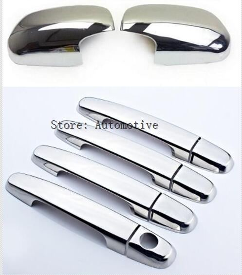 2in1 Chrome Side Wing Rearview Mirror Door Handle Cover For <font><b>Toyota</b></font> <font><b>RAV4</b></font> 2009 <font><b>2010</b></font> 2011 2012 Trim Molding Overlay 2008 2007 2006 image