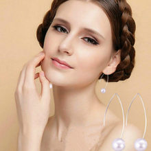 1 PCS Sell Curved Fish Shaped Bead Stud Earrings Simulated Pearls Crystal Infinity Bow Cat Bijoux Fashion Jewelry Brincos Earing(China)