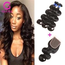 8A Brazilian Virgin Hair Body Wave With Closure 3 Bundles Unprocessed Virgin Hair Cheap Human Extension Free Part Lace Closure
