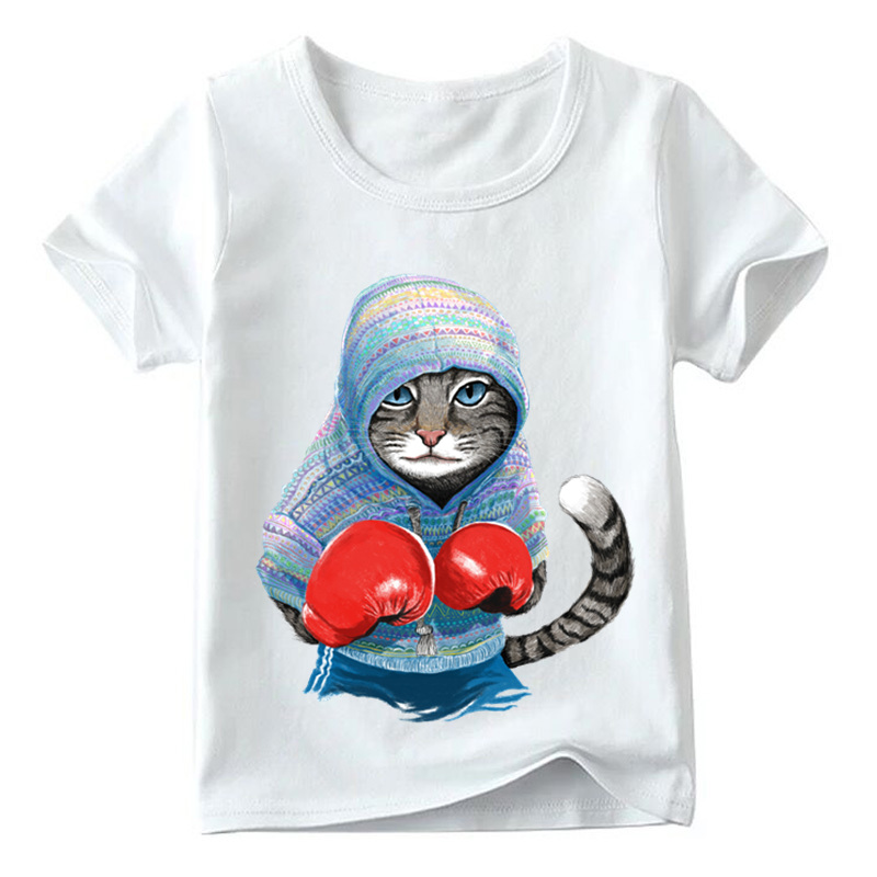 Children Super Cool Boxing Cat Attack Print T shirt Baby Boys/Girls Short Sleeve Summer Tops Kids Great Casual Clothes,HKP5043 2018 kids girls clothes set baby girl summer short sleeve print t shirt hole pant leggings 2pcs outfit children clothing set