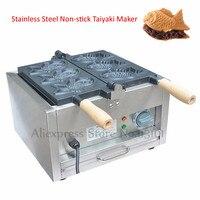Antiaderente Elétrica Máquina Taiyaki Japonês Peixe Waffle Comercial 3 Moldes 1.4kw 220 V 110 V com Cabos De Madeira