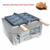 Nonstick Electric Japanese Fish Waffle Maker Taiyaki Machine Commercial 1.4kw 3 Molds 220V 110V with Wooden Handles