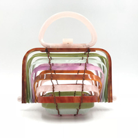 2018 New Women Acrylic Fashion Folding Handbag Ins Holiday Style Shell Bag Unique Special Beach Hollow Out Basket Bag Colorful
