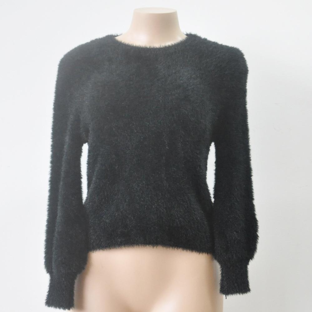 2017 autumn Winter Women Furry Short Sweater for fat Screw Neck ...