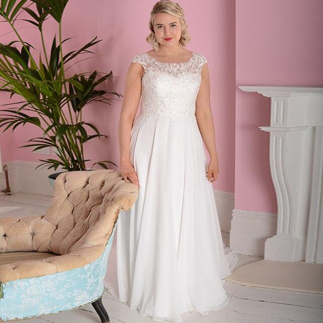 e9f475500 New Arrival Cap Sleeve Applique Wedding Dresses Scoop Neck Chiffon Beach  Wedding Dress Gowns Vestido De