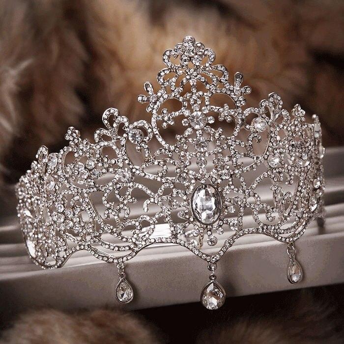 8c72964d78019 حجر الراين كبير العروس الزفاف الشعر مجوهرات الجوف كريستال كبيرة ولي مهرجان  تيارا الزفاف إكسسوارات الشعر