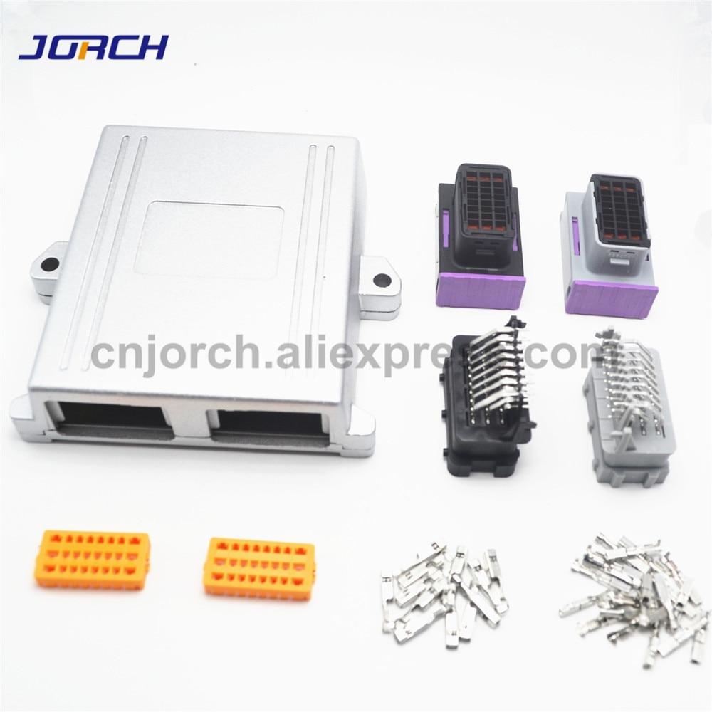 1 conjunto 24pin 48pin ecu escudo caixa de aluminio com conector automatico plug carro on board