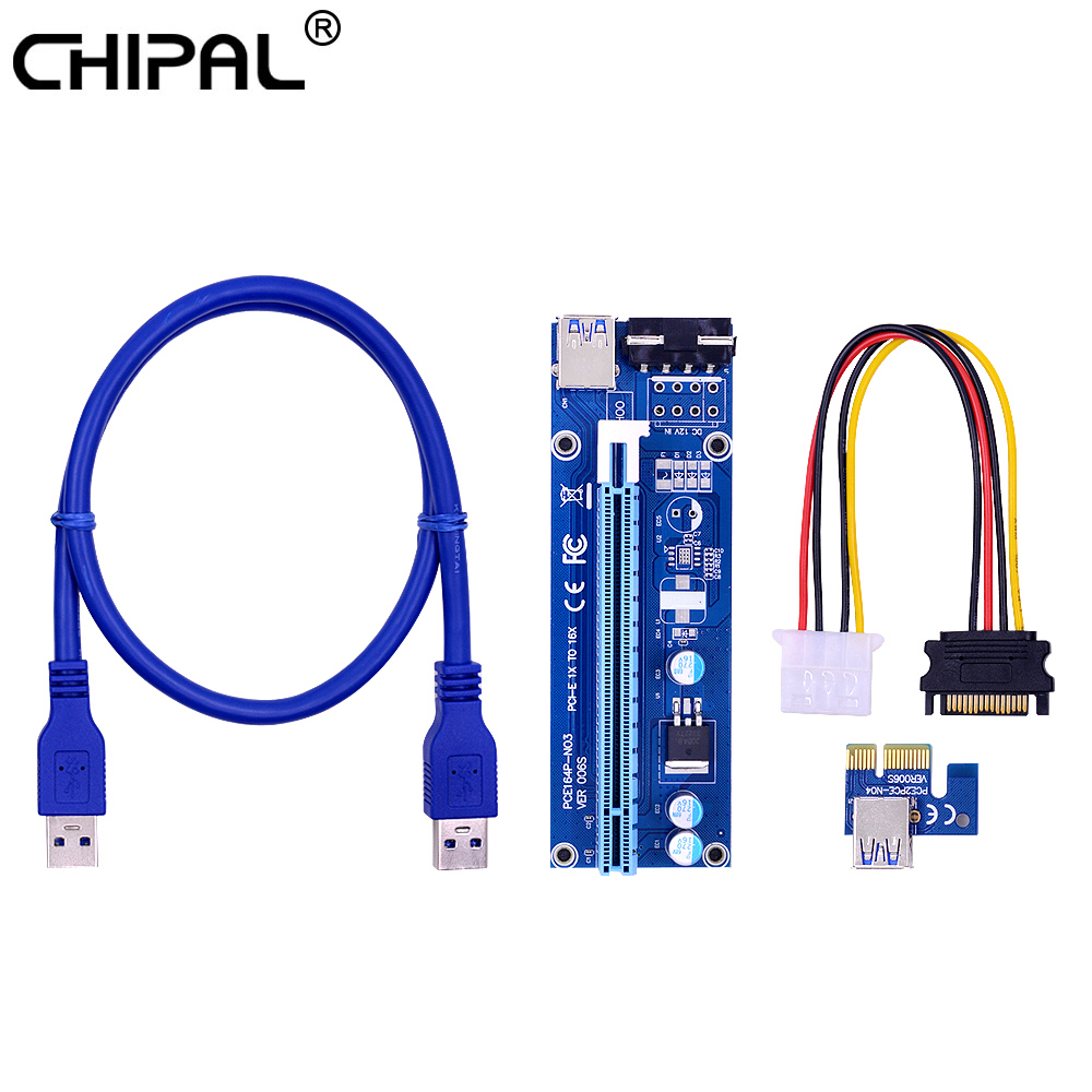 CHIPAL 10pcs VER006S 60CM PCI E Riser Card PCI Express PCIe 1x to 16x Adapter USB