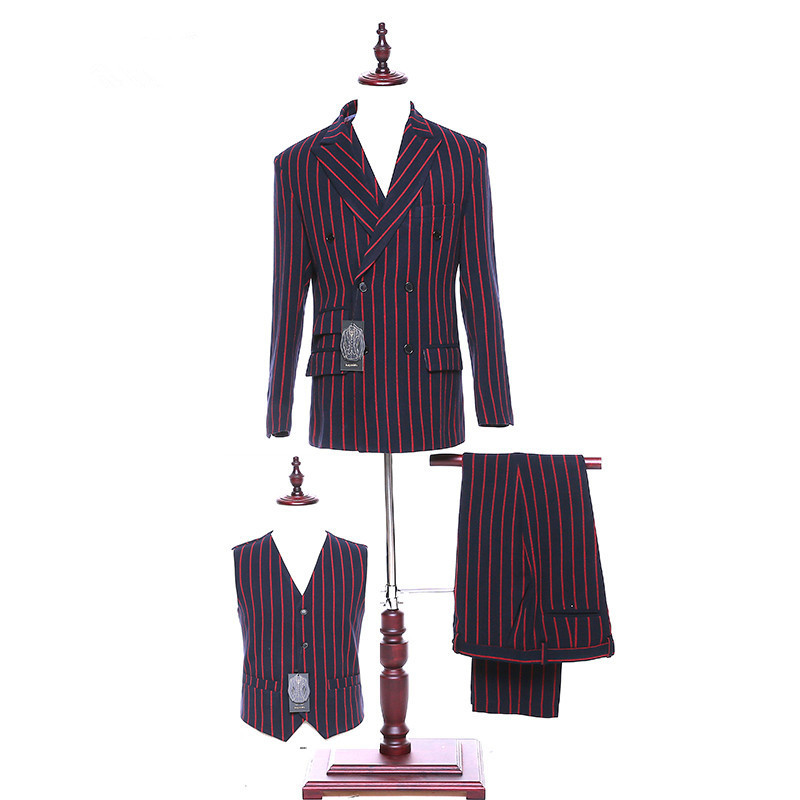 New Red Striped Men's Suit Lapel Double-breasted Men's Wedding Gowns And Business Suits (jacket + Pants + Vest) Custom Made