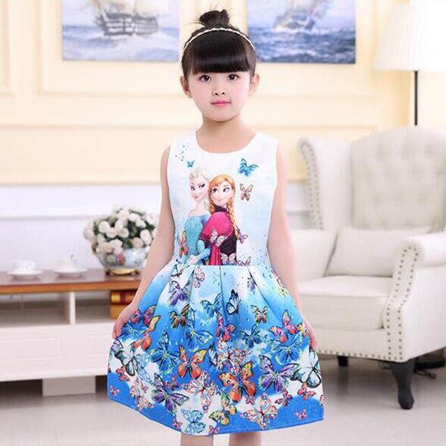 2018 Summer Girls Dresses Elsa Dress Anna Princess Party Dress For Girls Vestidos Teenagers Butterfly Print Baby Girl Clothes 3