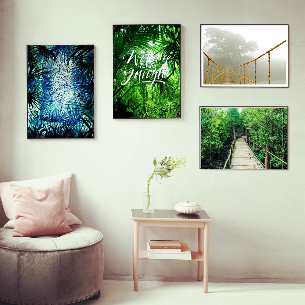 Jungle Waterfall Canvas Black White Landscape Wall Art Picture Home Decor
