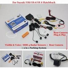 Для Suzuki SX4 SX-4 SX 4 Хэтчбек-Автомобилей Датчики Парковки + Задний посмотреть Резервное Копирование Камеры = 2 в 1 Видео/Bibi Парковка система