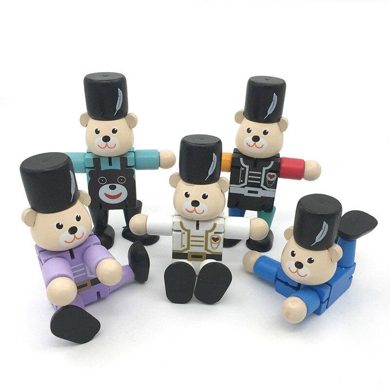 1 Stücke Holz Transformation Bär Roboter Bausteine Kinder Handgemachte Lernen Bildung Spielzeug Kinder Kreative Geschenke Dekoration