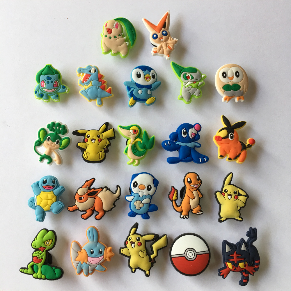22pcs/lot Pikachu Poke Mon PVC Shoe Charms Shoe Buckle Accessories For Croc Decoration For Bracelets With Holes Christmas Gift