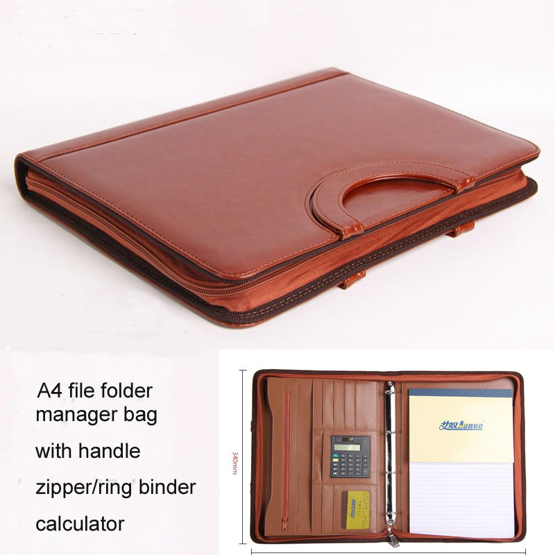 Zipper A4 Leather File Folder Expanding Document Bag Briefcase Padfolio Handbag With Handle Calculator Ring Binder 442B