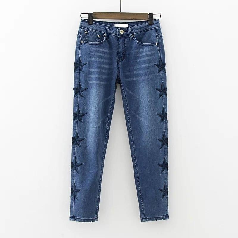 ФОТО Hot Sale 2017 New Style Women Jeans Fashion Star Embroidery Narrow Feet Skinny Denim Ankle-length Pants Pantalones De Femininos