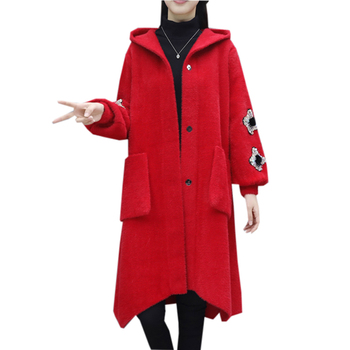 Fashion Women Thicken Faux Mink Fur Coats Spring Autumn Casual Hooded Loose Parkas Ladies Elegant Woolen Blends Jackets YP2075